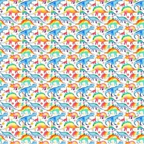 Watercolour Rainbow Dinosaurs on white background - tiny scale