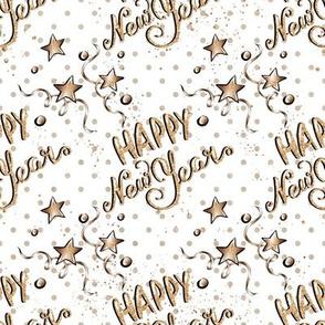 Happy New Year gold/white stars