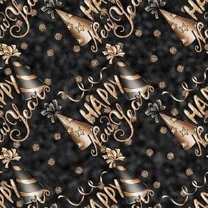 Happy New Year gold black