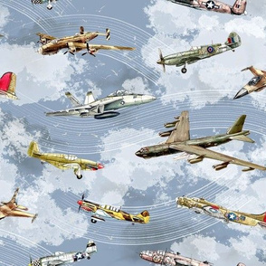 Military Planes on Blue Sky