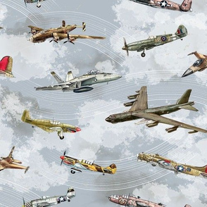 Military Planes in a Grey Sky