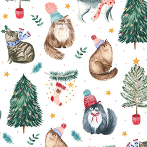 festive cats white - large scale