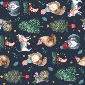 festive cats navy tea towel