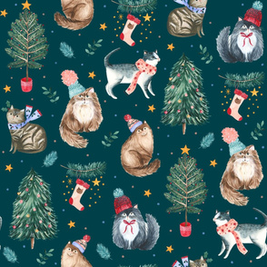 festive cats teal - large scale