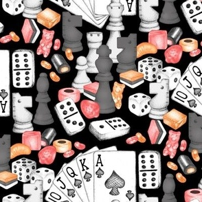 Fun in Spades on Saturday Knights - coral pink, melon orange, charcoal, and white on black