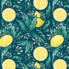 Lamb Illustration's Lemony Florals Print - Blue Ground