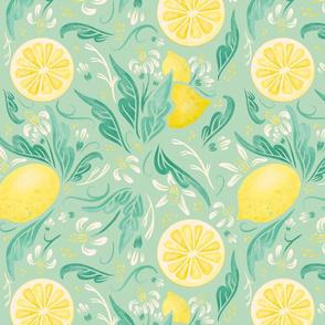 Lamb Illustration's Lemony Florals Print - Mint Ground