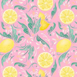 Lamb Illustration's Lemony Florals Print - Pink Ground