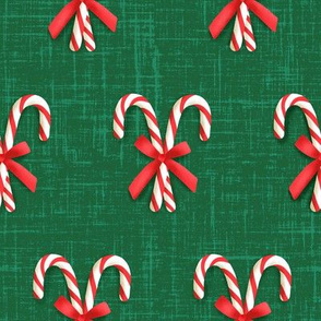Crossed Candy Canes Tied With Bow on Green (Small Size)