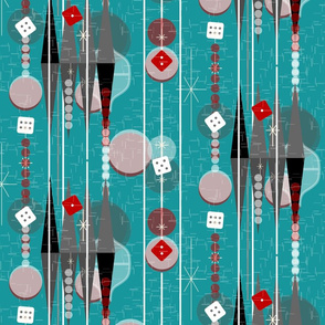 Backgammon Bling -- Retro Las Vegas Kitsch Game Night -- Midcentury Modern Twinkle Dice Casino Gameroom with Stripes in Pine Green Aqua -- Medium Scale