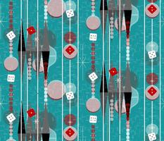 Backgammon Bling -- Retro Kitsch Game Night -- Midcentury Modern Twinkle Dice Casino Gameroom with Stripes in Pine Green Aqua -- Medium Scale