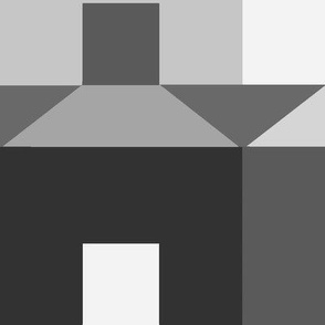 Tessellating Houses in Monochrome Gray Black