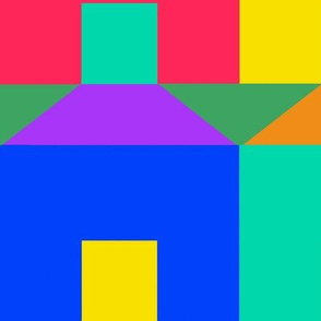 Tessellating Houses in Rainbow Colors