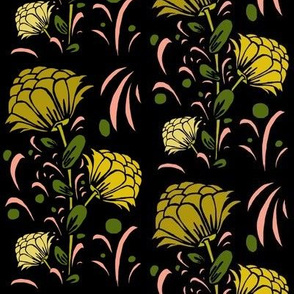 Large floral in yellows, pink, charcoal