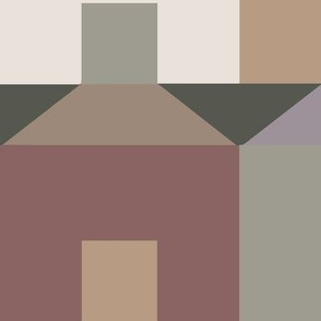 Tessellating Houses in Muted Brown Green and Lavender