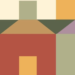 Tessellating Houses in Chestnut Caramel Lavender and Green