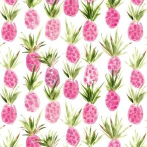 Wild pink pineapples - smaller scale - watercolor tropical pineapple fruit for summer