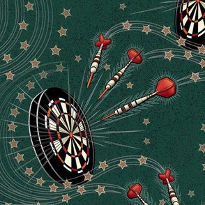 ★ RIGHT IN THE BULL'S EYE ! ★ Forest Green - Large Scale / Collection : Game on! - Darts & Dartboard Prints