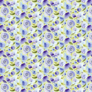 Purple Floral on green