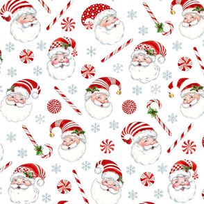 Peppermint Santas  with gray snowflakes-larger