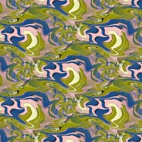 trippy microscopic primordial soup abstract camo khaki, small scale, blue yellow pink green lime chartreuse