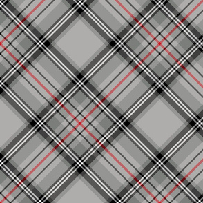 """Glen Moy tartan, red stripe, 10"""" diagonal"""