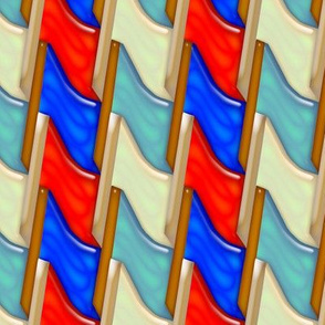 Tessellating Red White and Blue Flags