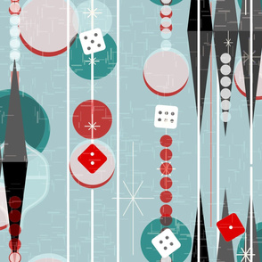 Backgammon Bling -- Retro Game Night -- Midcentury Modern Twinkle Dice Gameroom  with Stripes in Pale Aqua -- Large Scale
