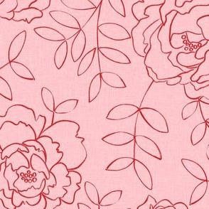 Red Peonies on Pink Wallpaper
