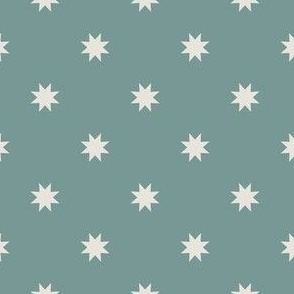 Abstract Mid century modern pattern. Geometry Teal Blue. Stars