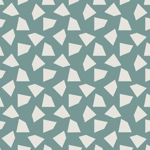Abstract Mid century modern pattern. Geometry Teal Blue. Terrazzo