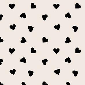 Love lovers minimal hearts basic romantic heart design off white black tossed