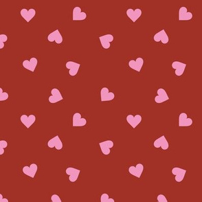 Love lovers minimal hearts basic romantic heart design burgundy red pink tossed