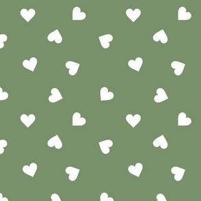 Love lovers minimal hearts basic romantic heart design soft olive green white