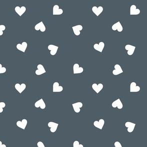 Love lovers minimal hearts basic romantic heart design stone blue white tossed