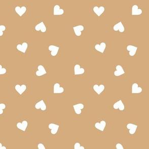 Love lovers minimal hearts basic romantic heart design cinnamon beige yellow white tossed