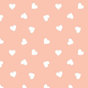 Love lovers minimal hearts basic romantic heart design cinnamon apricot blush pink white tossed