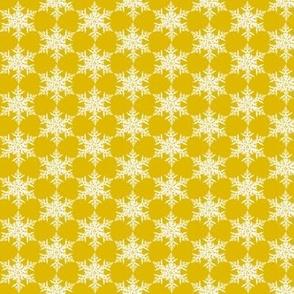 Snowflake on mustard yellow