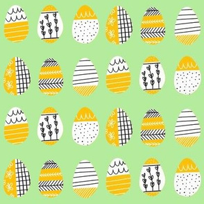 Pattern Eggs on Lime Green