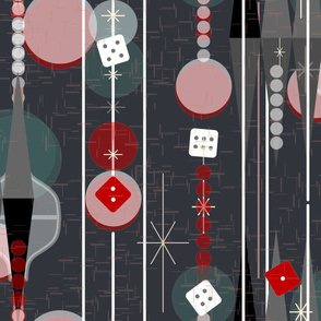 Backgammon Bling -- Retro Game Night -- Midcentury Modern Twinkle Dice Gameroom with Stripes in Dark Slate -- Large Scale
