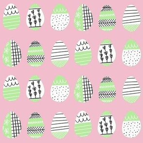 Pattern Eggs on Pink