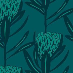 Protea Large - Duo Deep Green
