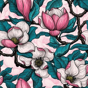 Pink magnolia with blue leaves on white background with pink linework