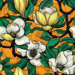 Yellow magnolia with green leaves on orange
