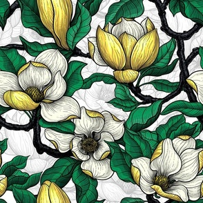 Yellow magnolia with green leaves on white background with light gray linework