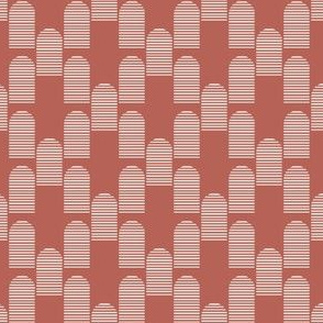 Abstract Mid century modern pattern. Geometry Terracotta. Striped Arch