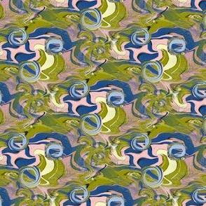 trippy microscopic primordial soup abstract camo khaki, small scale, light & dark blue yellow pink green lime chartreuse