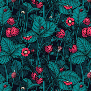 Wild strawberries, red and blue