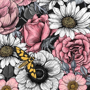 Flower mix, pink, white and gray