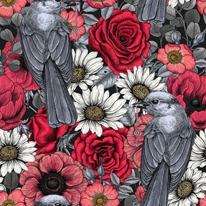 Gray jays and flowers, red, gray and white